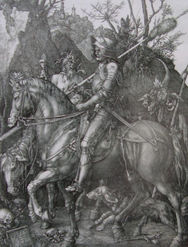 devil discouraging the heroic vitalist durer 1513